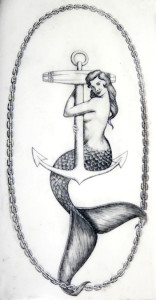 Mermaid on anchor scrimshaw, reproduction, artist unknown